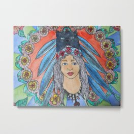 Head dress indian  girl with flowers Metal Print