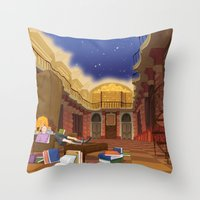 hermione Throw Pillows featuring Hermione  by Lesley Vamos