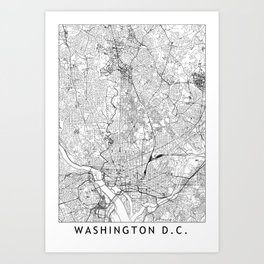 Washington D.C. White Map Art Print
