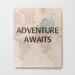 Adventure Awaits Map Print Metal Print