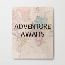Adventure Awaits Map Print Metal Print