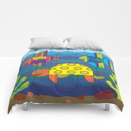 Stylize fantasy fishes and turtle under water. Comforters