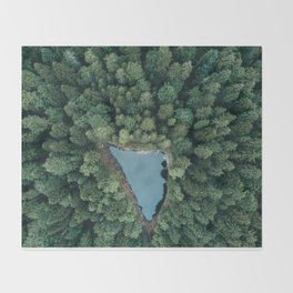 Hidden Lake in a Forest - Landscape Photography Throw Blanket