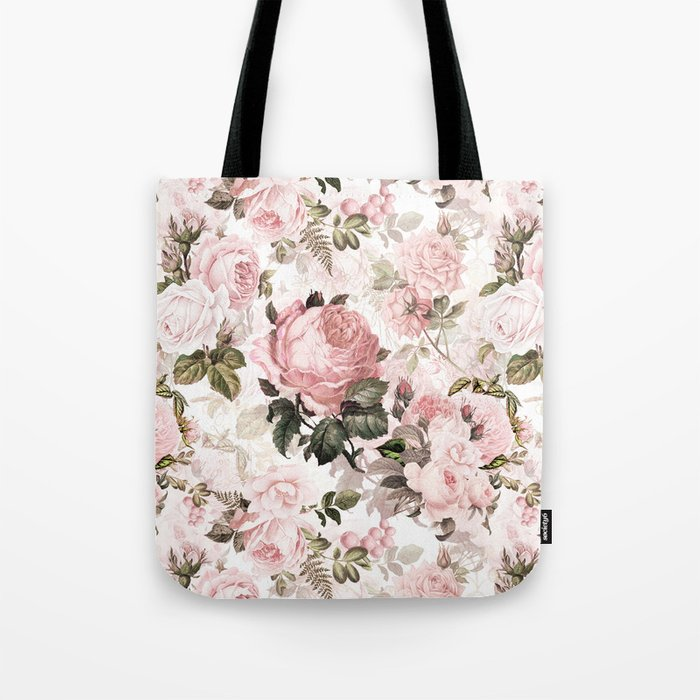 Vintage & Shabby Chic - Sepia Pink Roses Tote Bag