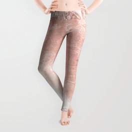 Antique World Map White Rose Gold Leggings