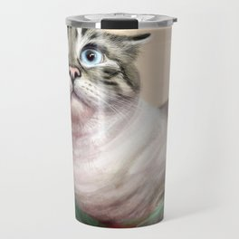 Cat Surprised Funny Animals with Feather Siamese Lynx-Point Travel Mug