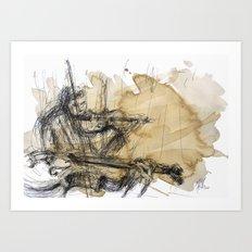 Violins in coffee Art Print