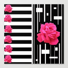 MODERN ABSTRACT PINK ROSES WHITE-BLACK ART Canvas Print