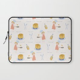 Cute girl cook with pancake and chef hat illustration Laptop Sleeve