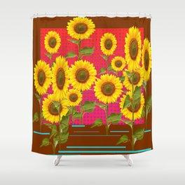BROWN SUNFLOWER FIELD SAFFRON GRAPHIC ART Shower Curtain