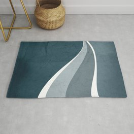 Contemporary Abstract Swerves in Aqua and Teal Rug