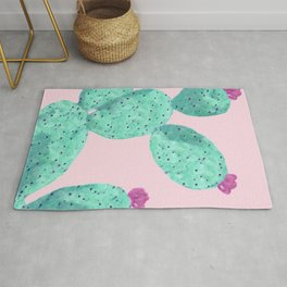 Cactus with pink flowers Rug