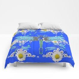 BLUE DRAGONFLIES WHITE DAISY FLOWERS  ART Comforters