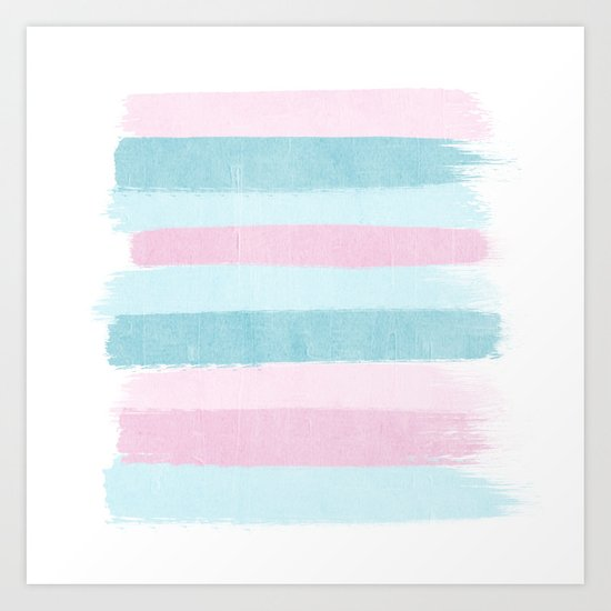 Painted pastel candyland stripes minimal art by charlotte winter Art Print