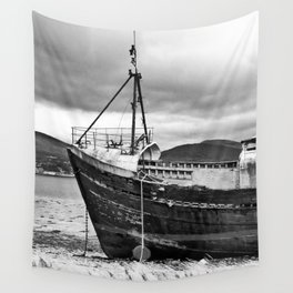 Highland Shipwreck - b/w Wall Tapestry