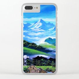 Snowy Mountain and Wind Mill Clear iPhone Case