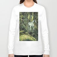 pixies Long Sleeve T-shirts featuring Unicorn & Pixies by Mike Lowe