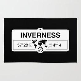 Inverness Scotland GPS Coordinates Map Artwork with Compass Rug