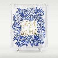 waldo Shower Curtains featuring That's Life – Gold & Blue by Cat Coquillette