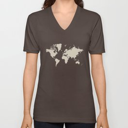 World with no Borders - khaki Unisex V-Neck