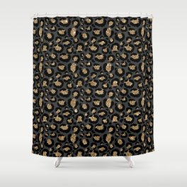 Black Gold Leopard Print Pattern Shower Curtain