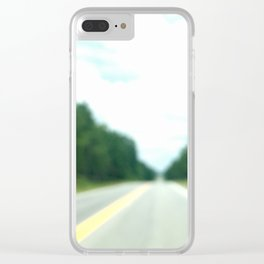 road surrounded by the green forest Clear iPhone Case