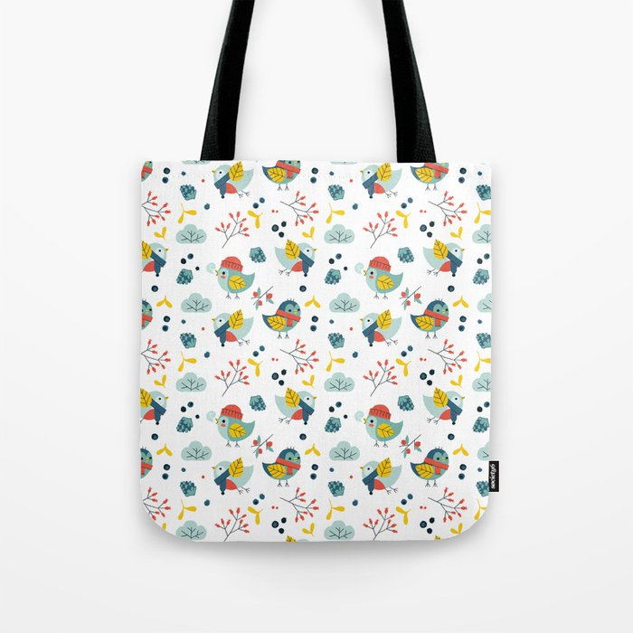 winter birds pattern Tote Bag