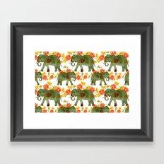 Wading Elephants Framed Art Print