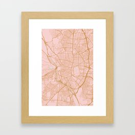 Pink and gold Madrid map, Spain Framed Art Print