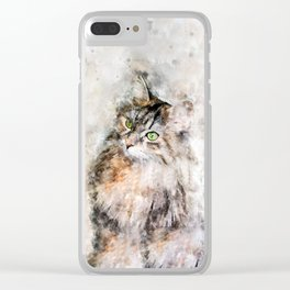 Duchess Watercolor Cat Clear iPhone Case