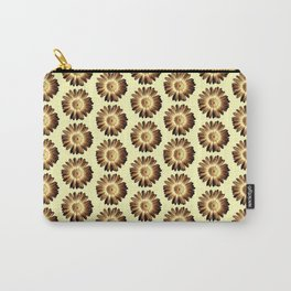 Brown Yellow Daisy Pattern,Retro Carry-All Pouch