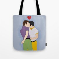 klaine Tote Bags featuring Klaine Kissing by byebyesally