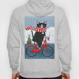 Winter Tuxedo Cat Bicycle Ride Hoody