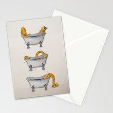 giraffe takes a bath Stationery Cards