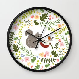 Friendship in Wildlife_Squirrel and Robin_Bg White Wall Clock