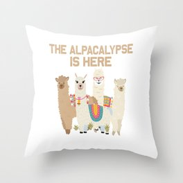 the alpacalypse lama alpaca cute animal fur white Throw Pillow