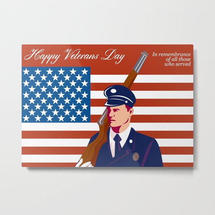 American Veterans Day Greeting Card Retro Metal Print