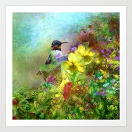Hummingbird Bouquet Art Print