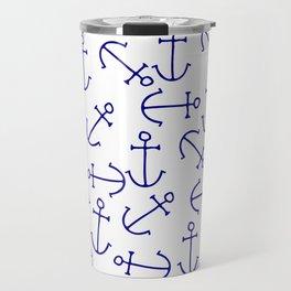 Nautical navy blue white hand painted anchors Travel Mug
