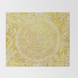 Medallion Pattern in Mustard and Cream Throw Blanket