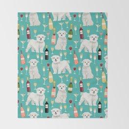 Maltese wine pattern dog breed dog portrait pet friendly pet art champagne Throw Blanket