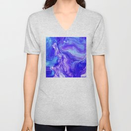 Deep Blue Marble With Lilac Vein Accents Unisex V-Neck