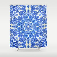 bedding Shower Curtains featuring Cobalt Blue & China White Folk Art Pattern by micklyn