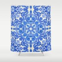 folk Shower Curtains featuring Cobalt Blue & China White Folk Art Pattern by micklyn