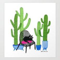 Cactus Cat Art Print