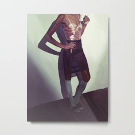 Woman in Knee Socks Metal Print
