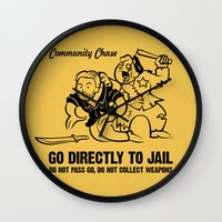 community Wall Clocks featuring Community Chase by Fanboy30