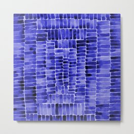 Watercolor abstract rectangles - blue Metal Print