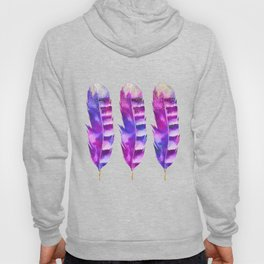 Pink Feathers watercolor painting Hoody