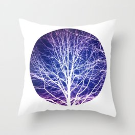 Surreal nature photography of a bare tree in purple and blue Throw Pillow